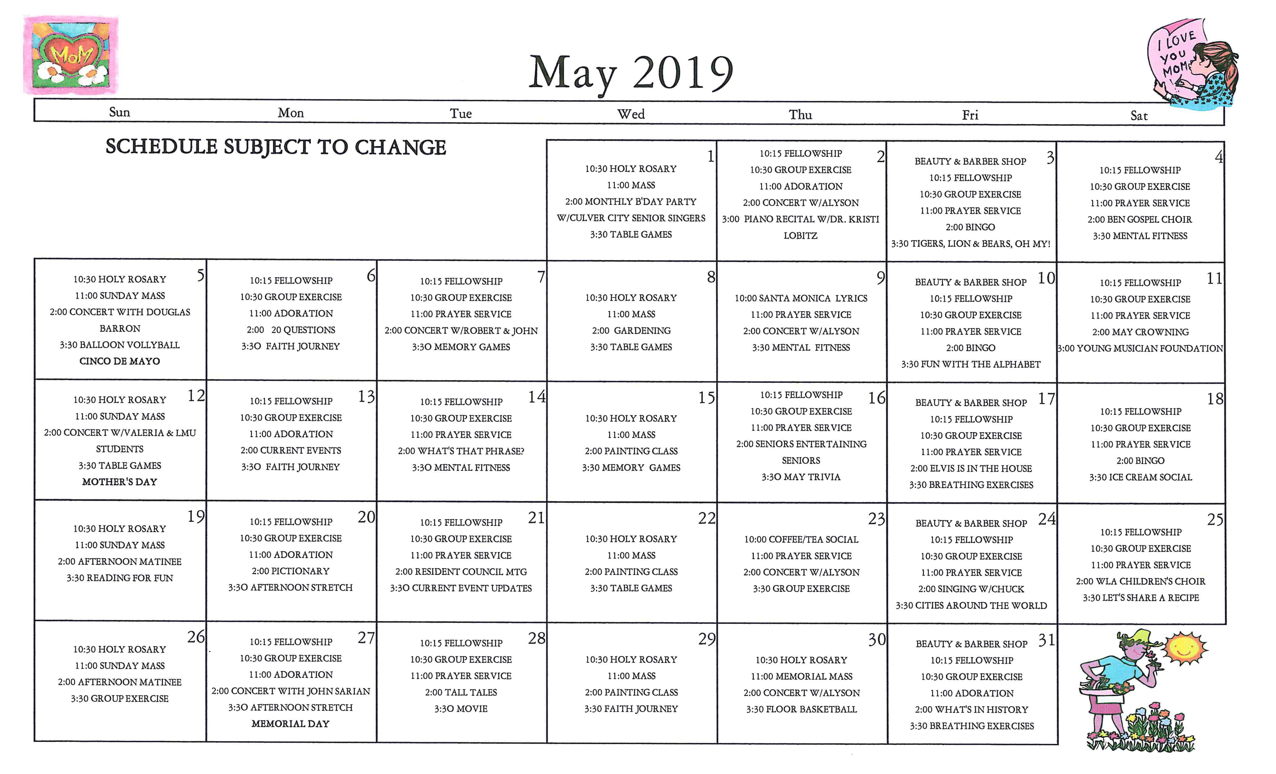 may-activities-cal_2019 | Marycrest Manor